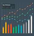 infographic elements - bar and line chart vector image vector image