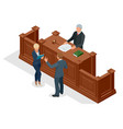 isometric symbol of law and justice in the vector image vector image