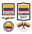 Made in Colombia label set vector image