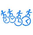 men running over clocks grunge icon vector image
