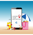 mobile phone with beach stuff and choose your vector image vector image