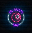 neon billiards bar sign on a brick wall vector image vector image
