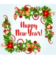 New Year card with holly and pine corners vector image vector image