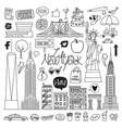 new york hand drawn set vector image vector image