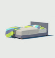 polygonal double bed with colorful pillows vector image vector image