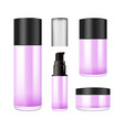 realistic purple glass jar with plastic lid for vector image vector image