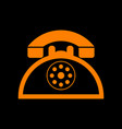 retro telephone sign orange icon on black vector image