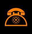 retro telephone sign orange icon on black vector image vector image
