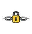 safe secure padlock with chain vector image