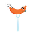 sausage cartoon character vector image vector image