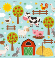 seamless pattern with pets in barnyard vector image