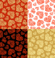set of seamless hearts patterns vector image