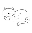 sleeping cat pet animal isolated design white vector image vector image