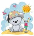 teddy bear on the beach vector image vector image