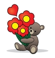 Teddy bear with the bunch of flowers vector image vector image