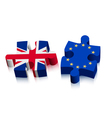 Two puzzle pieces - UK and EU Brexit concept vector image