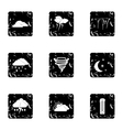 Type of weather icons set grunge style vector image