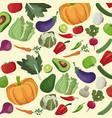 vegetables fresh ingredients seamless pattern vector image