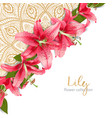 wedding invitation with lily flowers vector image vector image