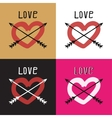 Set heart with arrows hand drawn vector image