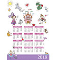 2019 year calendar fairytale kids template vector image