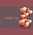 3d rose gold hearts valentine day background vector image