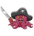 angry octopus pirates cartoon holding sword vector image