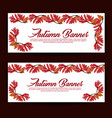 autumn banners with watercolor orange yellow and vector image