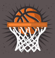 basketball hoop and a ball design graphic vector image vector image