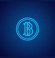 bitcoin on a digital abstract background vector image vector image