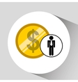 business man pile money icon vector image vector image