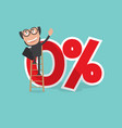 businessman reach a zero percent interest symbol vector image
