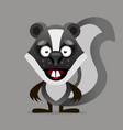 cheerful cartoon skunk looks and smiles vector image