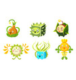 cute funny monsters set colorful fantasy plants vector image vector image