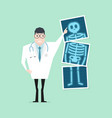 doctor pointing x-ray film health check up vector image vector image