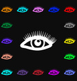 eyelashes icon sign Lots of colorful symbols for vector image