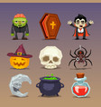 funny halloween icons-set 3 vector image vector image