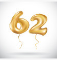 golden number 62 sixty two metallic balloon party vector image