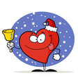 happy christmas red heart vector image vector image