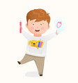 happy kid studying to draw on paper with pencils vector image