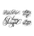 happy pongal handwritten ink lettering set vector image vector image