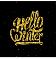 Hello winter gold glittering lettering design vector image
