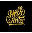 Hello winter gold glittering lettering design vector image vector image
