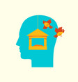 human head in profile with flying birds and feeder vector image