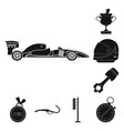 isolated object of car and rally symbol vector image vector image