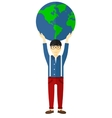 Man holding globe vector image