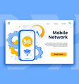 mobile 5g network landing page communication vector image