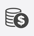 money icon on white background coins in flat vector image vector image