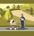 muslim mother walking with kid in park vector image