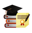 parchment diploma and hat graduation with books vector image vector image